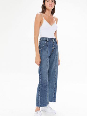 ג'ינס בגזרה מתרחבת עם כפתורים בחזית BDG