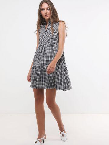 שמלת מיני קומות בהדפס משבצות