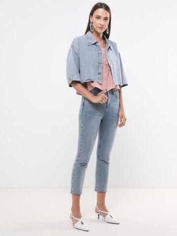 ג'קט ג'ינס קרופ עם שרוולים קצרים
