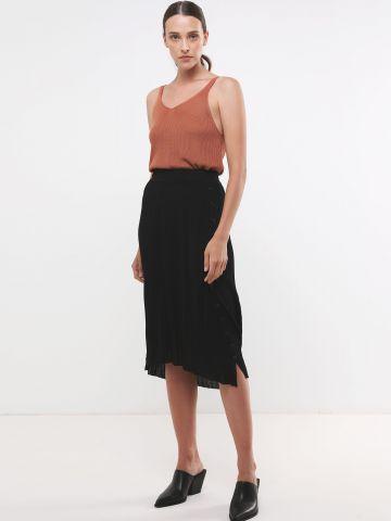 חצאית מידי ריב עם כפתורים