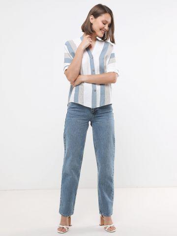 חולצה חולצה בהדפס פסים עם כפתורים