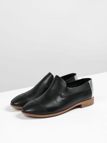 נעלי מוקסין עור בדוגמת קרוקודיל