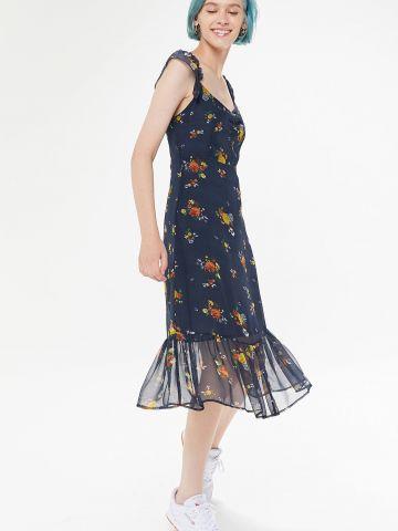שמלת מידי פפלום בהדפס פרחים UO