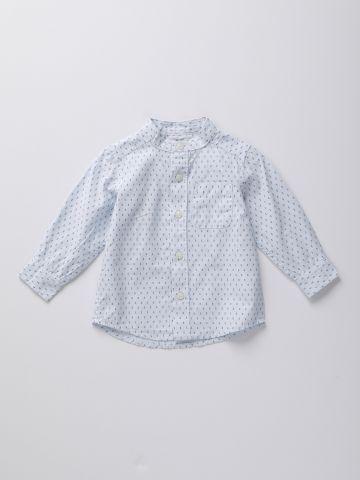 חולצה מכופתרת עם הדפס גיאומטרי / 9M-4Y