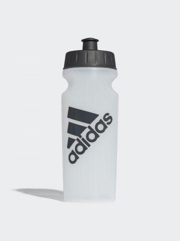 מימיית ספורט שקופה עם הדפס לוגו
