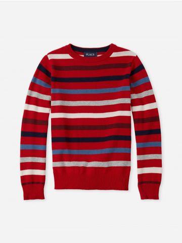 סוודר בייסיק בדוגמת פסים / בנים