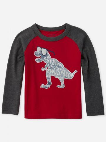 טי שירט בייסבול שרוולים ארוכים עם הדפס דינוזאור / בנים