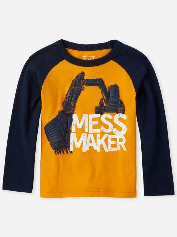 טי שירט בייסבול שרוולים ארוכים Mess Maker / בנים