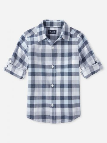 חולצה מכופתרת בהדפס משבצות / בנים