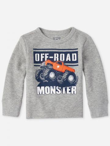 חולצת פיקה עם הדפס Monster / 9M-5Y