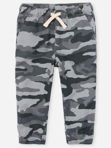 מכנסיים ארוכים בהדפס קמופלאז' עם גומי / 6M-4Y