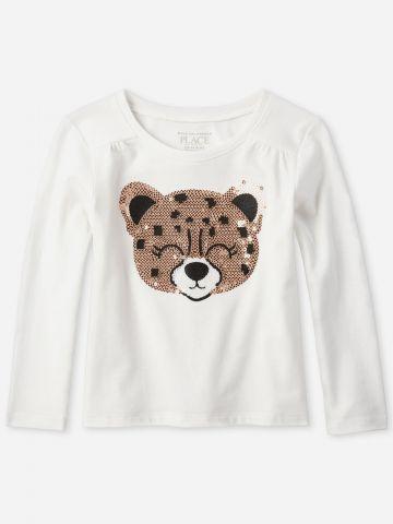 חולצה עם עיטור דובי פאייטים / 9M-5Y