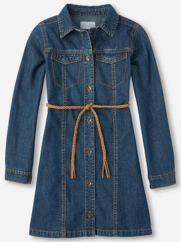 שמלת ג'ינס מכופתרת עם חגורת קשירה / בנות