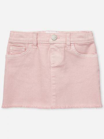 חצאית ג'ינס מיני עם סיומת פרומה / 12M-5Y