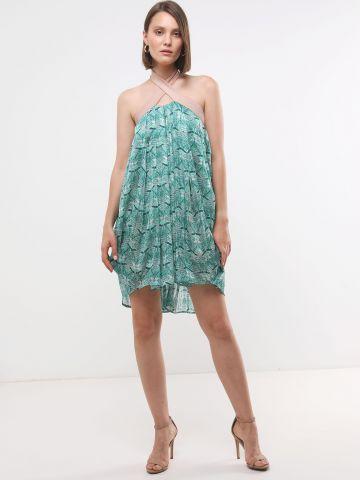 שמלת קולר מיני בהדפס מניפות X נטע אפרתי של YANGA