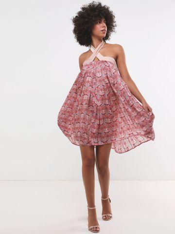 שמלת קולר מיני בהדפס מניפות X נטע אפרתי