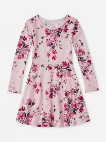 שמלה שרוולים ארוכים בהדפס פרחים / בנות
