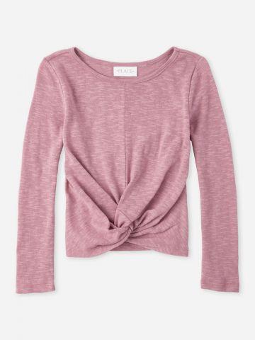 חולצת מלאנז' עם טוויסט בחזית / בנות