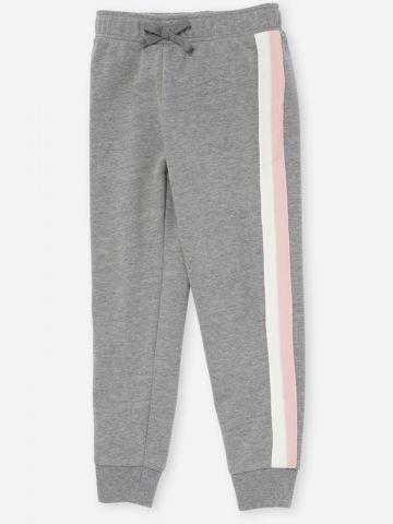 מכנסי טרנינג ארוכים מלאנז' עם סטריפים / בנות