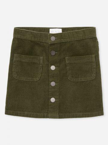חצאית מיני קורדורוי עם כפתורים / בנות