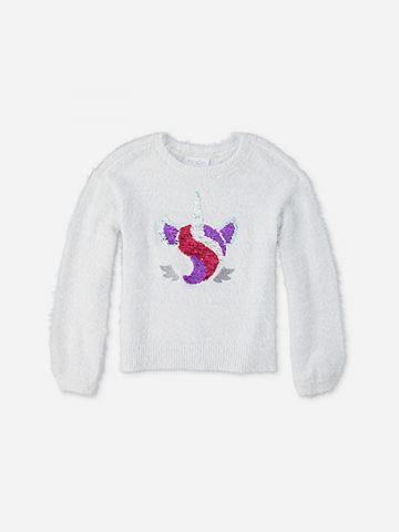 סוודר חד קרן עם פאייטים מתחלפים / בנות