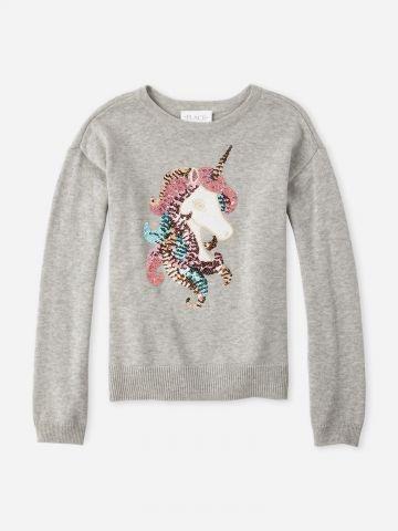 סוודר עם חד קרן בעיטור פאייטים / בנות