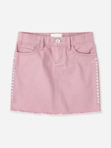 חצאית ג'ינס מיני עם ניטים / בנות