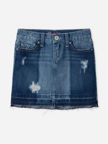 חצאית ג'ינס מיני עם קרעים / בנות
