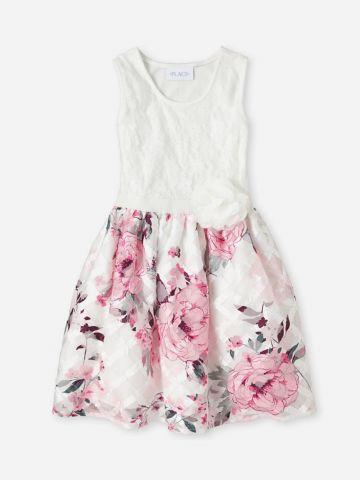 שמלת תחרה עם תול פרחים / בנות