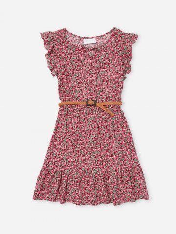 שמלה בהדפס פרחים עם מלמלה / בנות