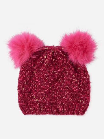 כובע צמר עם פונפונים / בנות
