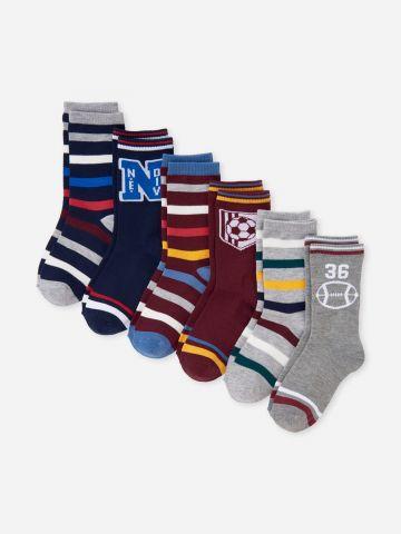 מארז 6 זוגות גרביים עם הדפסים / בנים