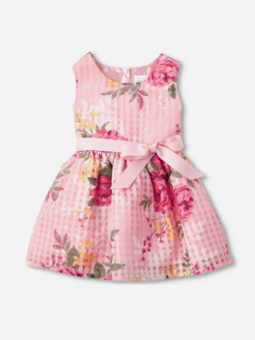 שמלת בהדפס פרחים עם פפיון / 9M-5Y