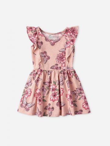 שמלת בהדפס פרחים עם שרוולי מלמלה / 9M-5Y