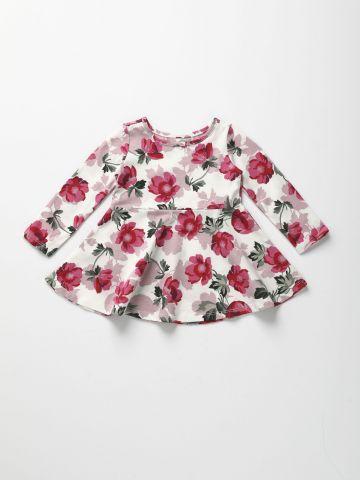 שמלה בהדפס פרחים עם שרוולים ארוכים / 6M-5Y