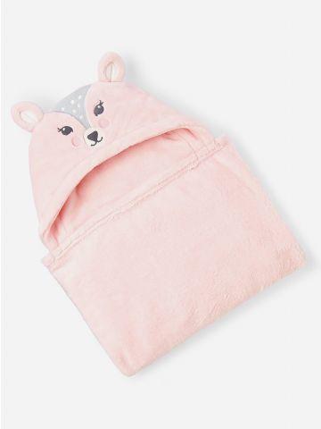 שמיכת תינוק עם כובע במבי / בייבי