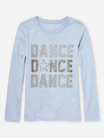 טי שירט שרוולים ארוכים עם הדפס Dance / בנות