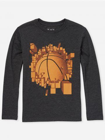 טי שירט עם הדפס כדורסל / בנים