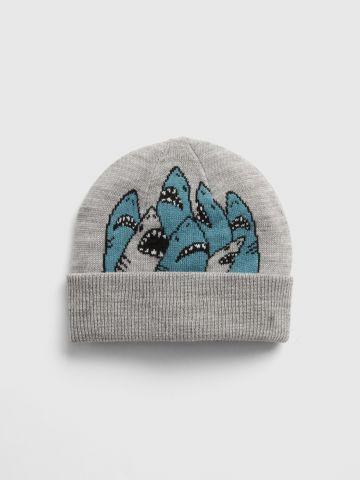 כובע גרב עם דוגמת כרישים / בנים