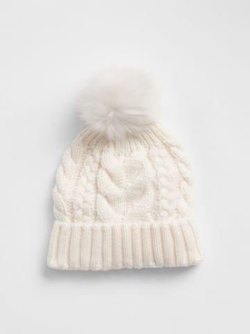 כובע גרב סרוג עם פונפון / בנות