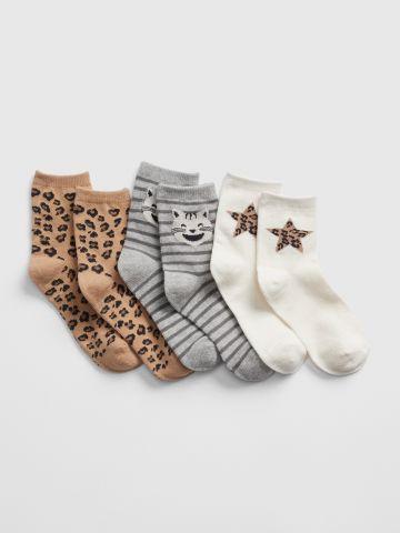 מארז 3 זוגות גרביים בהדפסים שונים / בנות