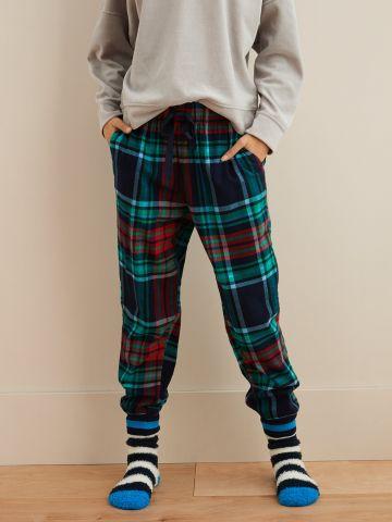 מכנסי פיג'מה ארוכים בהדפס משבצות