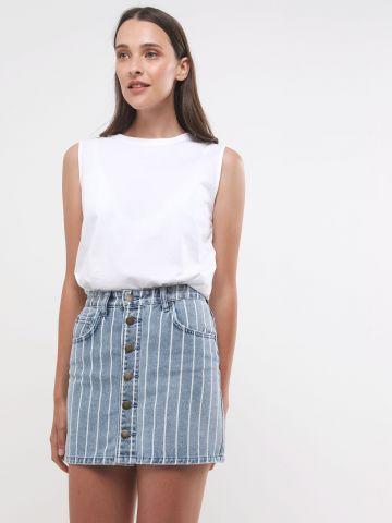 חצאית ג'ינס מיני בהדפס פסים עם כפתורים