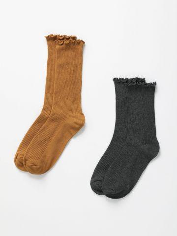 מארז 2 זוגות גרביים גבוהים עם מלמלה