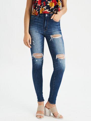 ג'ינס סקיני עם קרעים Hi-Rise Jegging