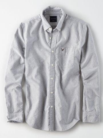 חולצה מכופתרת עם כיס ורקמת לוגו / גברים של AMERICAN EAGLE