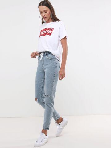 ג'ינס MOM עם קרעים וקשירה
