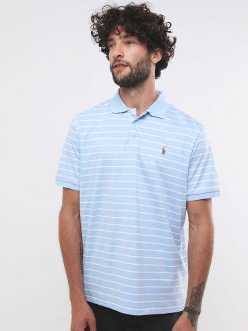 חולצת פולו לוגו בהדפס פסים Classic Fit