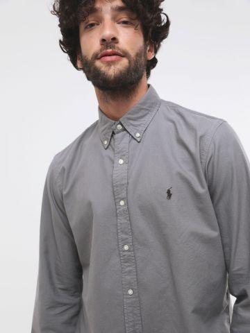 חולצת מכופתרת קלאסית עם רקמת לוגו Classic Fit