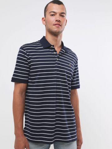 חולצת פולו פסים עם רקמת לוגו Classic Fit